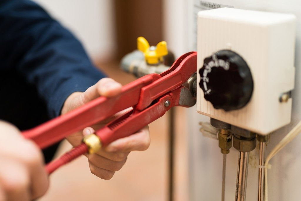 fixing the water heater