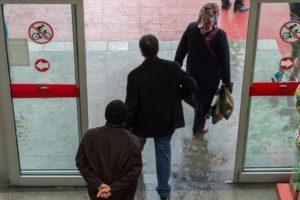 Sliding glass doors of an establishment