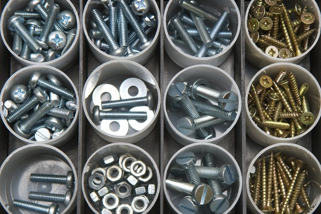Bolts and nuts organized