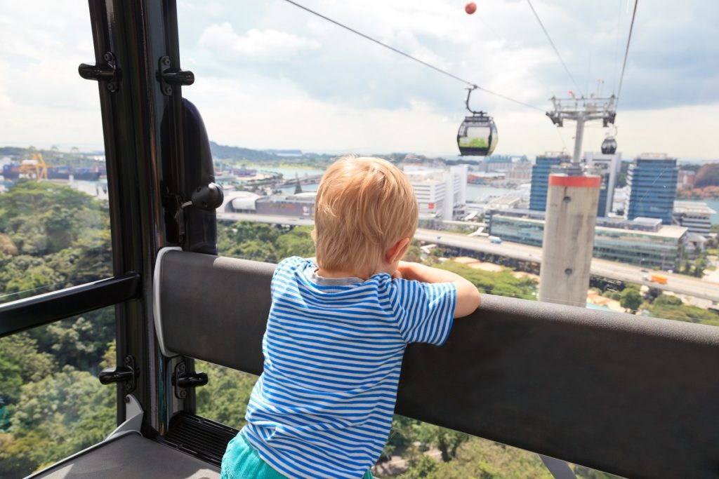 Little boy in a cable car