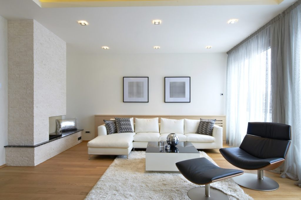 Modern living room with neutral-colored furniture