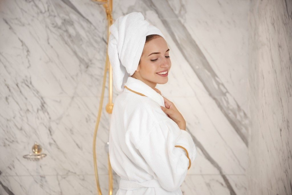 Woman wearing a bathrobe