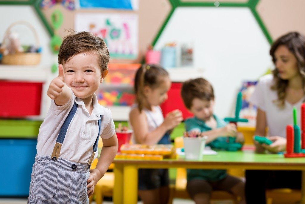 a kid in a classroom