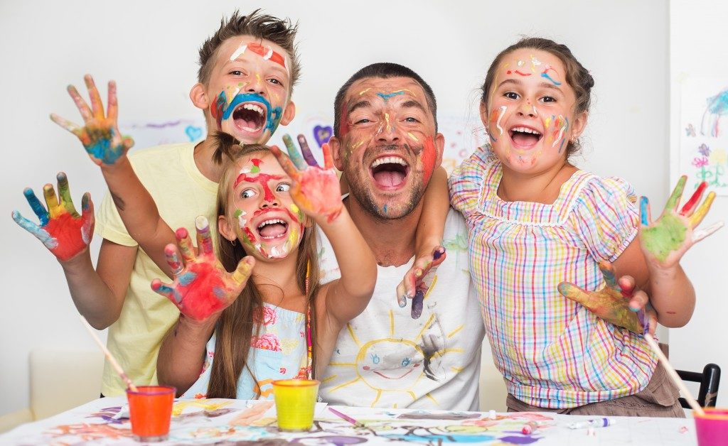 Family with paint