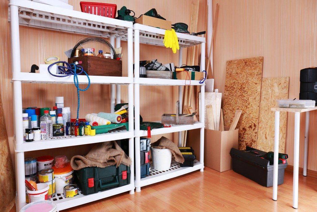 shelf full of garage tools