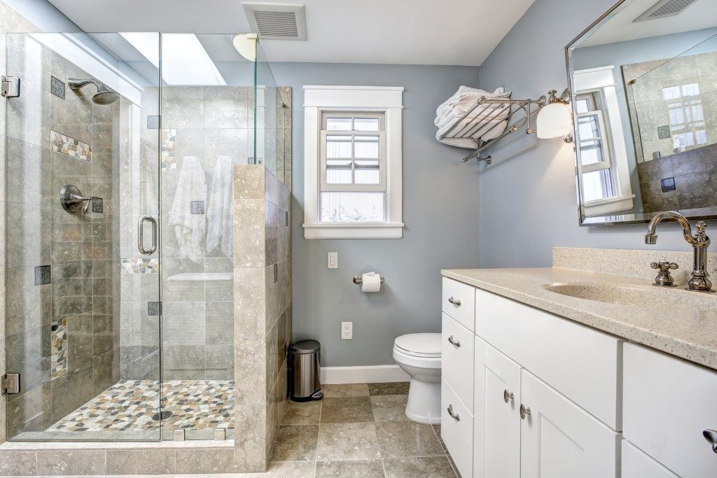 modern shower room with glass door