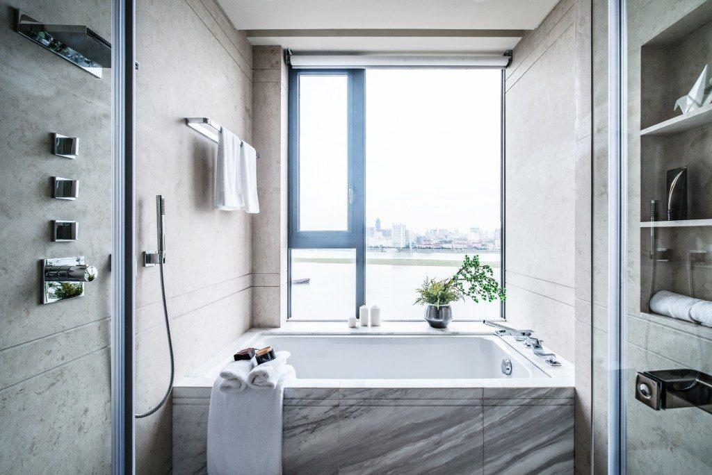 white and modern bathtub