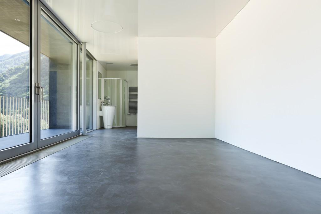 Indoor space with concrete floor