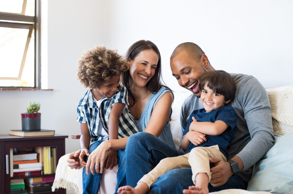 happy family bonding in the living room