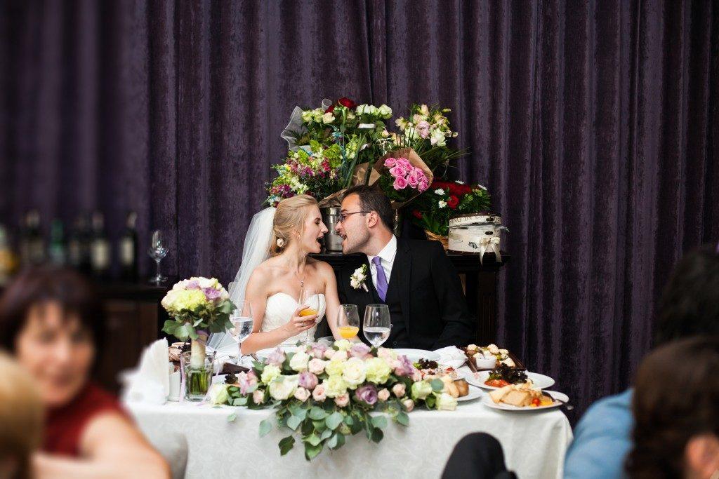 Happy newlywed in the wedding reception