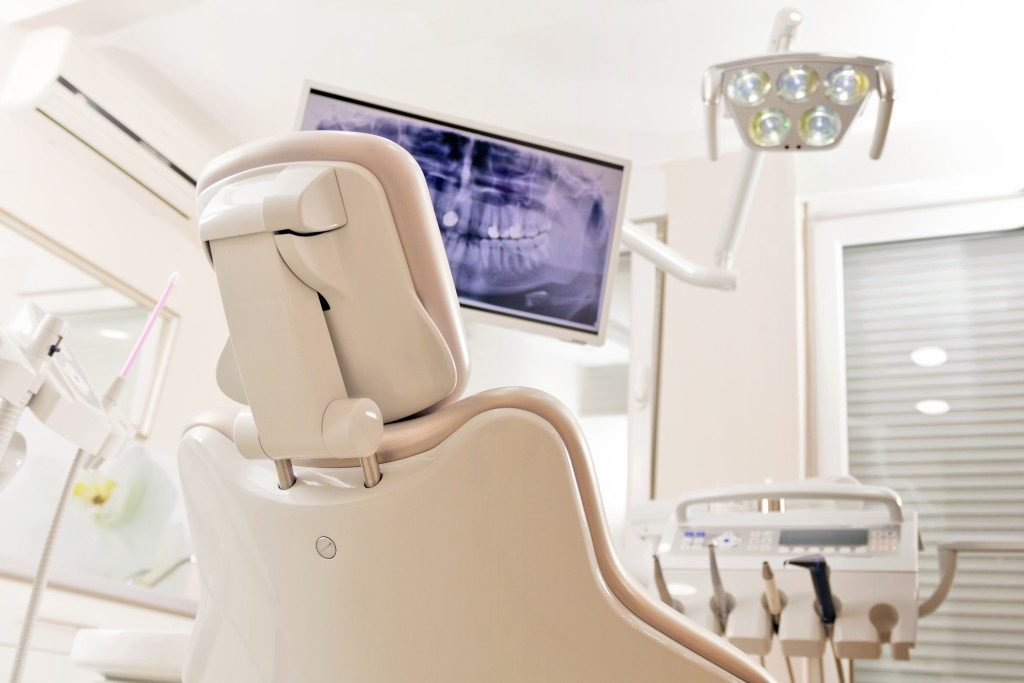 Dental chair view from the back