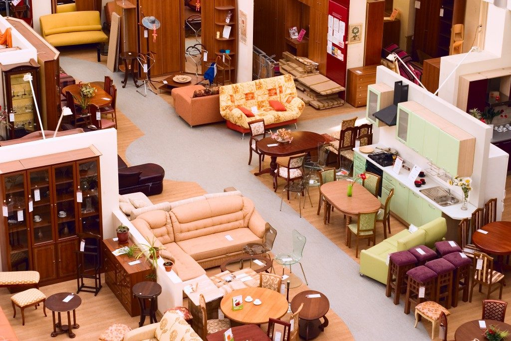 Aerial view of a furniture shop