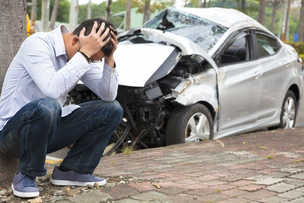 Man frustrated after car accident