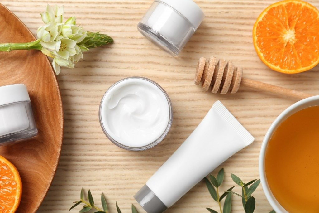 beauty products packaged in white