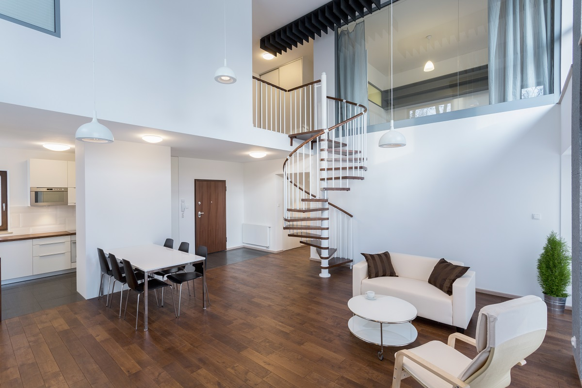 modern luxury home with high ceiling and spiral staircase