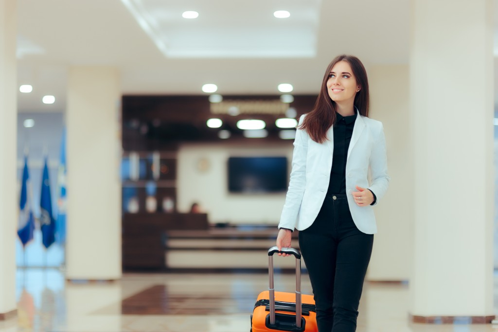 woman at a luxury hotel