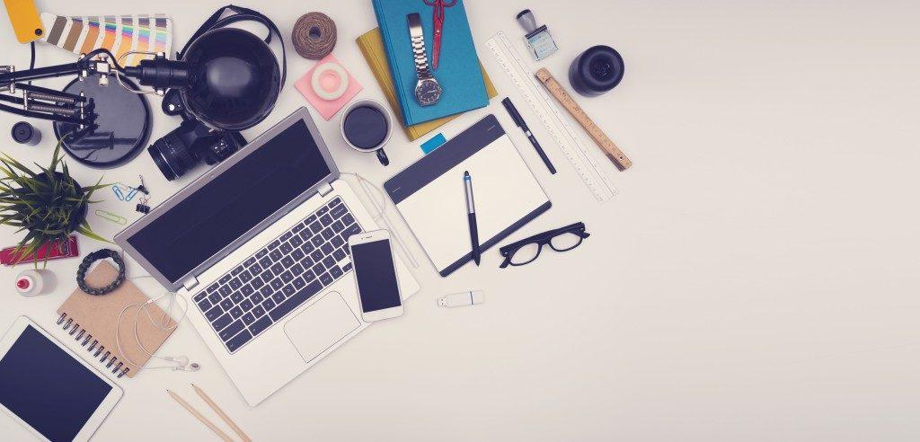 desk full of items