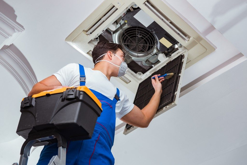 cleaning HVAC unit