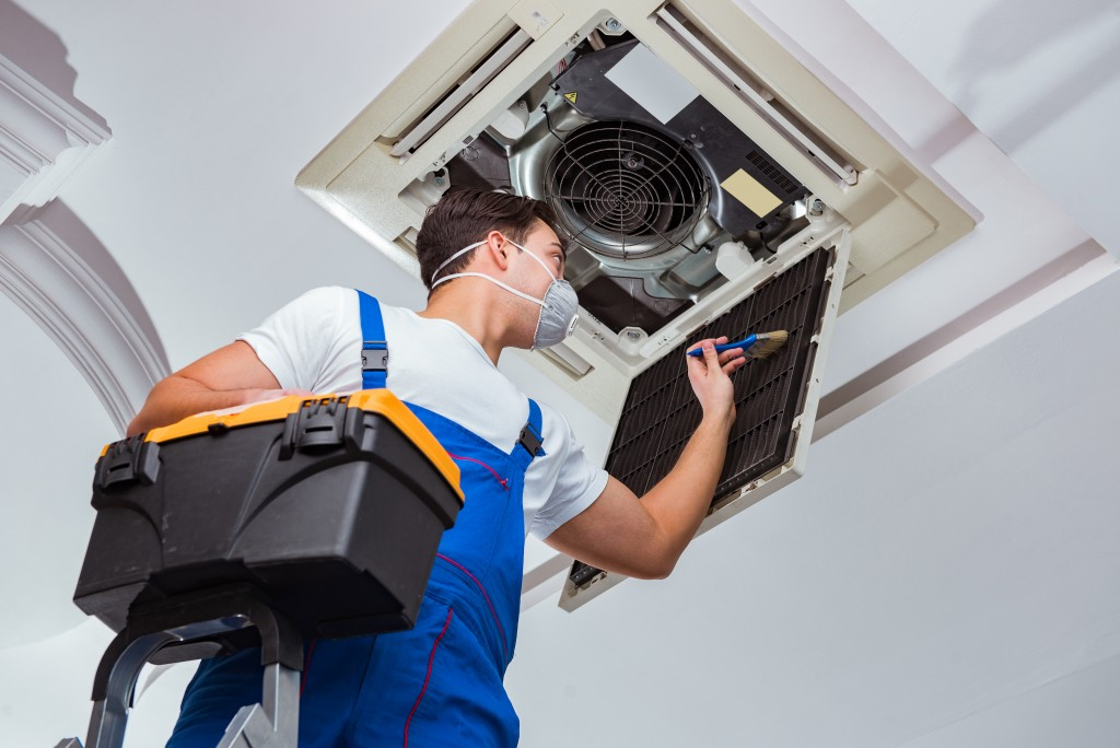 cleaning HVAC unit