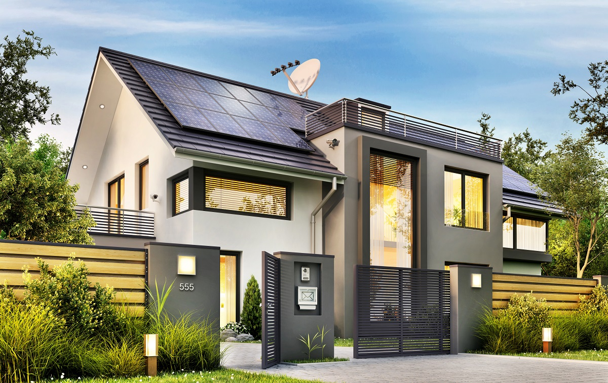 house with solar panel roofing