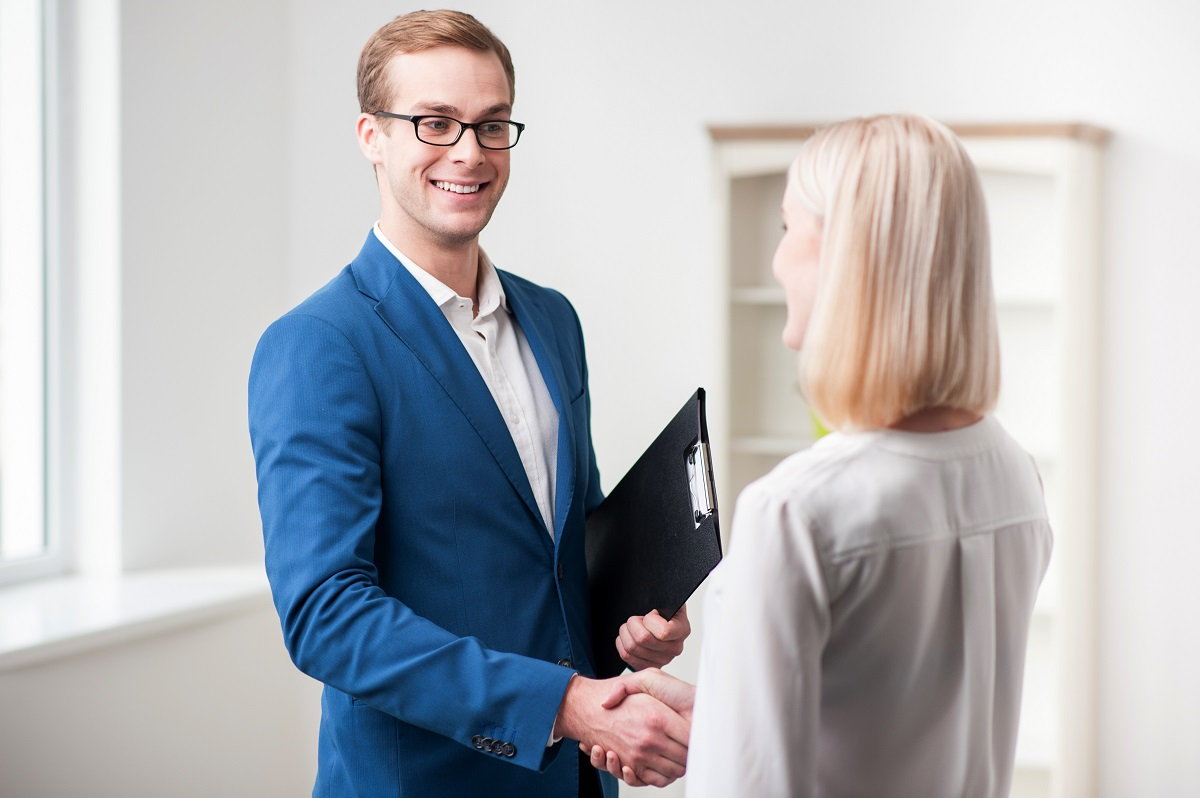 professional and client shaking hands