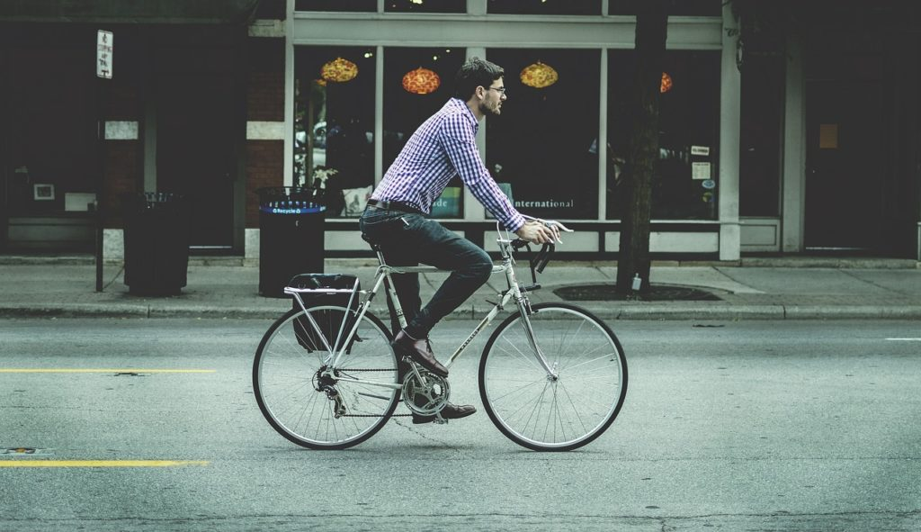 man biking to work