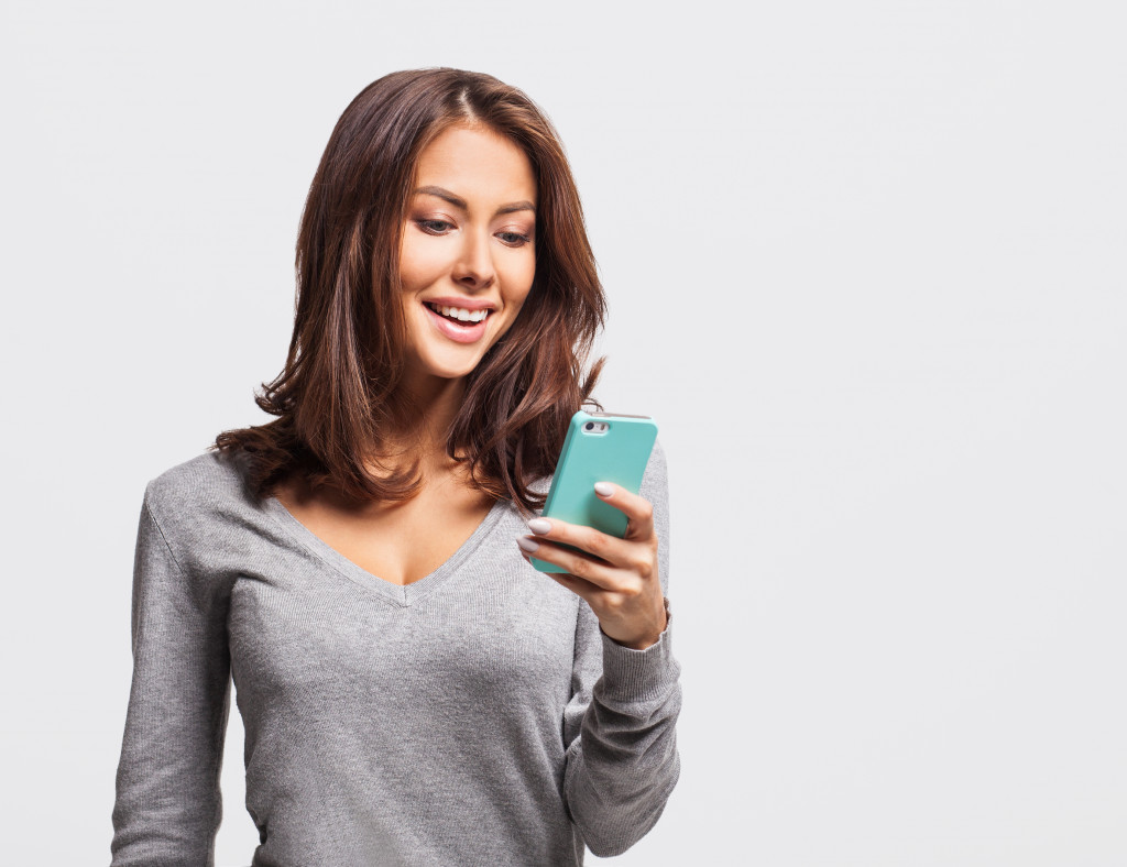 woman using a phone