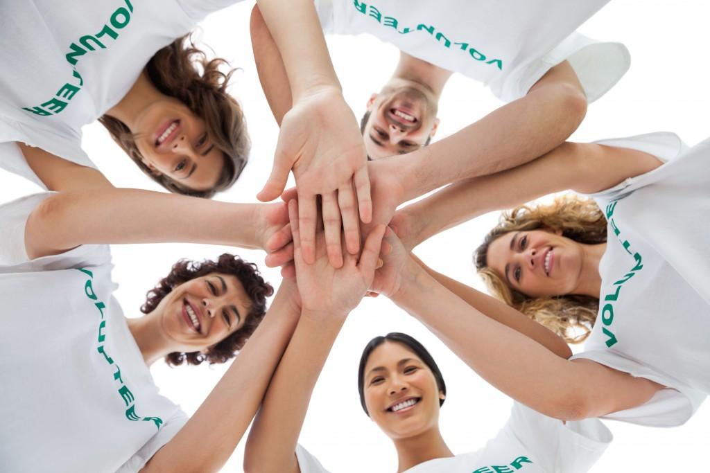 Cheerful group of volunteers