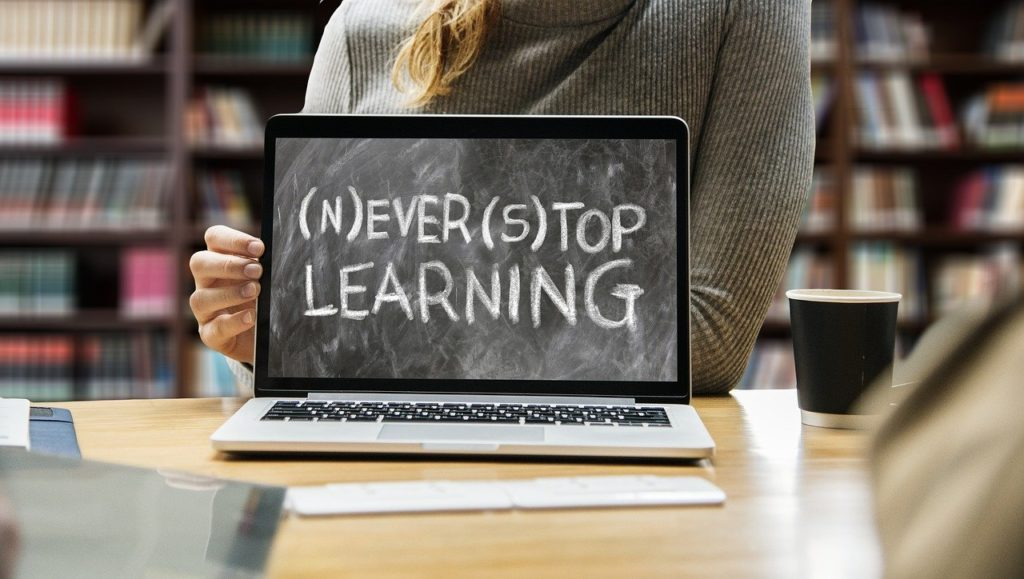 never stop learning written on laptop