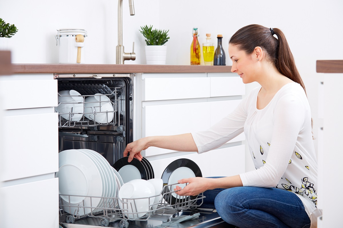 woman checking the dishes