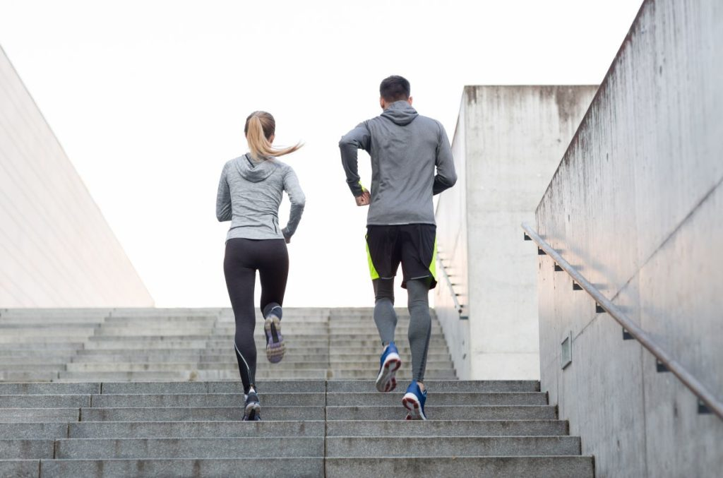 jogging up the stairs