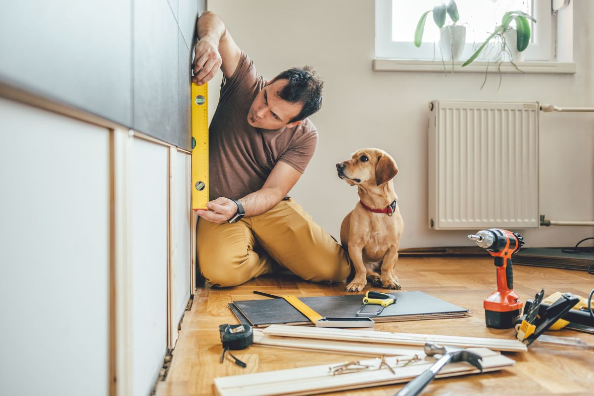 man renovating home with his dog