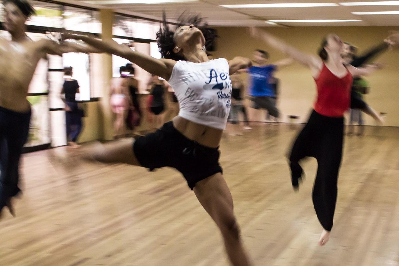 dancing in a studio