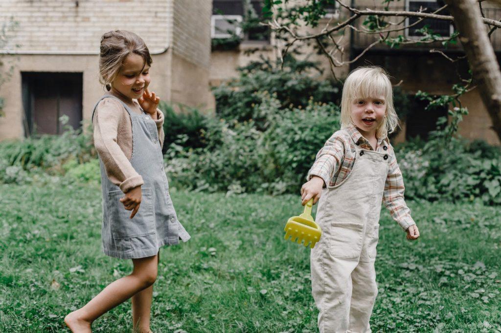 children playing in the garden