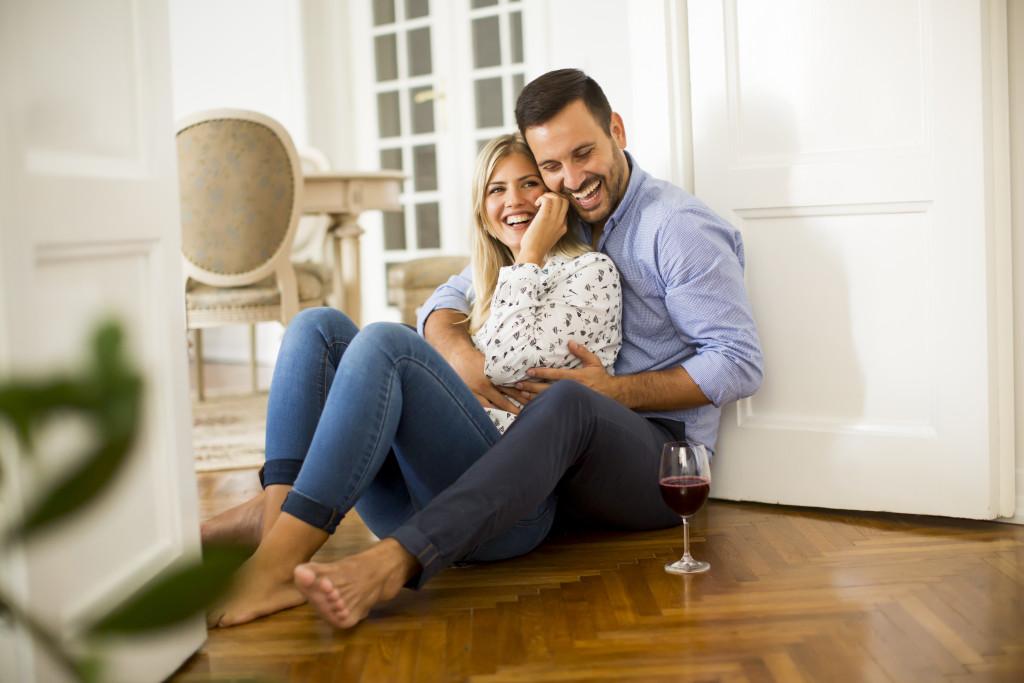 couple sitting on the floor